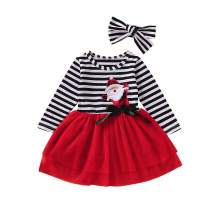 Toddler Baby Girls Christmas Dresses Clothes Santa Claus Stripe Lace Long Sleeve Outfits Xmas Gift