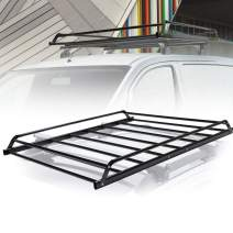 "Universal Rooftop Cargo Basket Heavy Duty Cargo Roof Carrier Rack Ideal for SUV,Truck,Car, Roof Top Luggage Carrier for Hauling Luggage. SIZE: L48.4"" x W38"" x H4.5"", 1 Year Warranty"