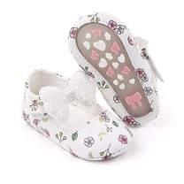 Meckior Infant Baby Girls Boys Handmade Princess Flats Toddler First Walkers Soft PU Leather Non-Slip Crib Wedding Dress Shoes