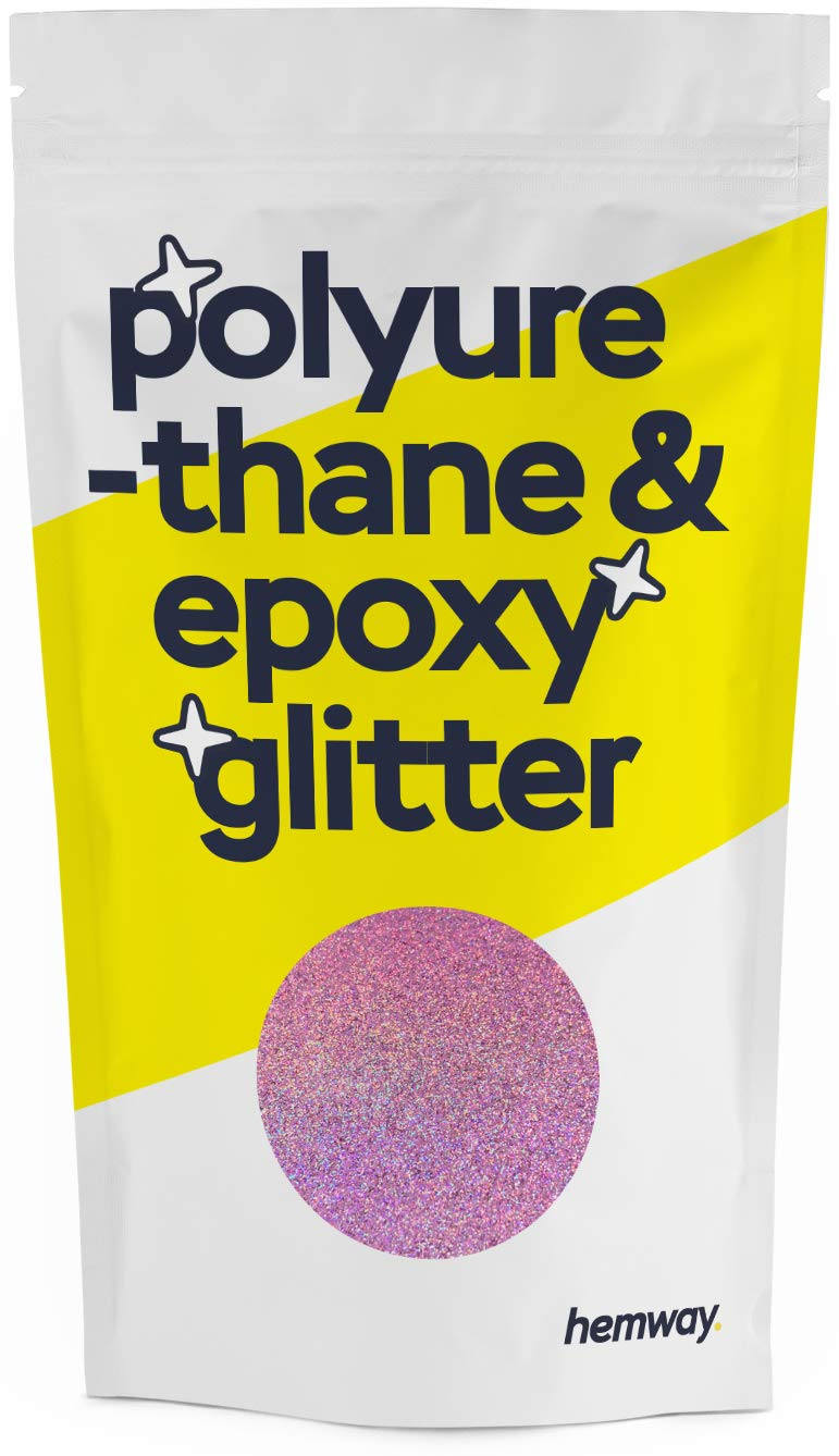 Hemway Metallic Glitter Floor Crystals for Epoxy Resin Flooring (500g) Domestic, Commercial, Industrial - Garage, Basement - Can be Used with Internal & External (Pink Holographic)