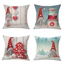 "Zivsik Swedish Gnome Scandinavian Tomte Throw Pillow Covers - Yule Santa Nisse Nordic Elf Figurine Christmas Decorative Cushion Cases Xmas Winter Holiday Decor - 18"" x 18"" 45cm x 45cm 4Pcs"