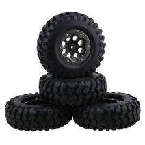 "Mxfans 4PCS Black 1.9"""" 108mm Inflatable Rubber Tires& 8 Hole Plastic Wheel Rim W/ Titanium Color Beadlock Rings for RC1:10 Crawler Car"