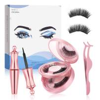 Reusable Magnetic Eyelashes and Eyeliner Kit, 2 Pairs Upgraded 3D False Eyelash with Tweezers and Mirror, Magnetic Eyeliner for Natural Look No Glue Needed