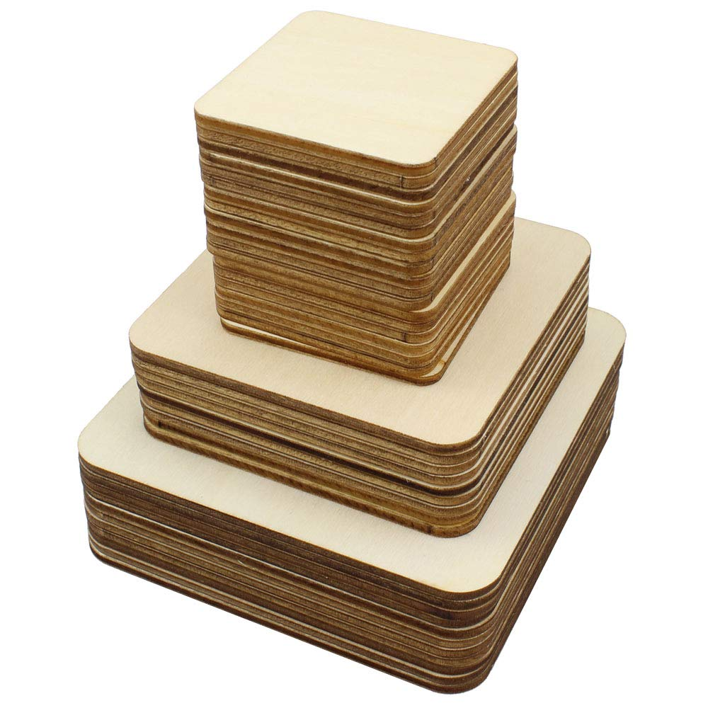 Meetory 42 Piece Unfinished Blank Wood Square,3 Different Size Wood Square Slices Cutouts for DIY Arts Craft Project, Pyrography Art, Painting Writing and Decoration(10cm,8cm,5cm)