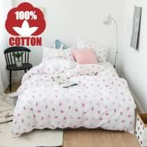 AOJIM Japanese Kawaii Style 100% Cotton Soft Children Cute Duvet Cover Set Small Strawberries Reversible Girls Bedding Set 3 PCS Best Bedding Gifts for Kid Full/Queen
