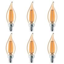Philips LED Classic Glass Amber BA11 Dimmable Light Bulb: 2700-Kelvin, 4-Watt (40-Watt Equivalent), E12 Base, Soft White, 6-Pack