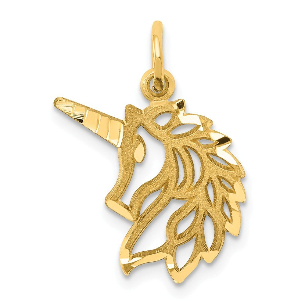 14k Yellow Gold Unicorns Head Pendant Charm Necklace Animal Unicorn Fine Jewelry For Women Gifts For Her