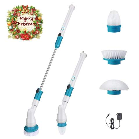 spin scrubber 360 cordless tub and tile scrubber multi purpose power surface cleaner with 3 replaceable cleaning scrubber brush heads 1 extension