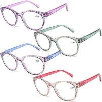 AQWANO 4 Pairs Round Blue Light Blocking Computer Reading Glasses Fashion Colorful Designer Readers Spring Hinge Glasses for Women, 3.5
