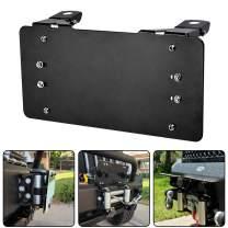 RUGCEL Black License Plate Bracket Flip-Up Roller Fairlead Mounting Holder