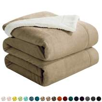 """Walensee Sherpa Fleece Blanket (King Size 108""""x90"""" Camel) Plush Throw Fuzzy Super Soft Reversible Microfiber Flannel Blankets for Couch, Bed, Sofa Ultra Luxurious Warm and Cozy for All Seasons"""