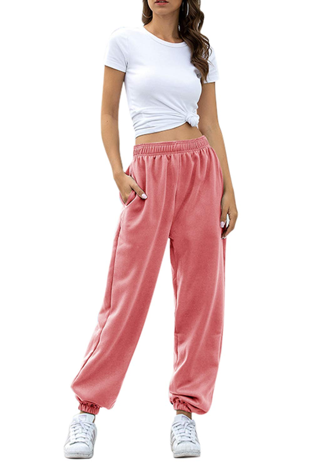 Pink Wind Women's Workout Joggers Sweatpants High Waisted Lounge Pants with Pockets