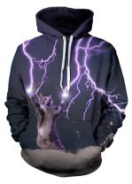 QingLemon Unisex Pullover Hoodie Galaxy Animal 3D Print Hooded Sweatshirts for Women Men