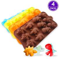 PERNY Dinosaur Molds, 4 Pack Dinosaur Silicone Mold for Crayon Chocolate Soap Candy Making, BPA Free