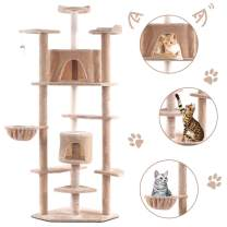 "Tangkula Cat Tree, Kitten Condo Multi-Level Activity Tower Pet Furniture with Scratch Post, Pet Play House, Kitty Activity Tree (80"")"