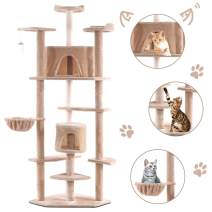 """Tangkula Cat Tree, Kitten Condo Multi-Level Activity Tower Pet Furniture with Scratch Post, Pet Play House, Kitty Activity Tree (80"""")"""