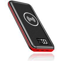 KEDRON Portable Charger Power Bank 24000mAh Wireless Charger Compatible Cellphone,Android Phones,Tablet and More with LED Digital Display 3 Outputs & Dual Inputs External Battery Pack (Red)