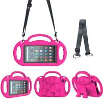 eTopxizu Kids Case for All New Amazon Fire 7 2019/2017, Light Weight Shock Proof Friendly Handle Kids Stand with Shoulder Strap for Fire 7 Tablet (9th & 7th Generation, 2019 & 2017 Release), Rose Pink