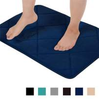 Seavish Thick Memory Foam Bath Mat, 19.7'' x 31.5'' Navy Blue Plaid Geometric Bath Rug Soft Cozy Flannel, Maximum Absorbent, Easier to Dry, Machine Washable, Non-Slip, Cushioned for Bathroom Floor Mat