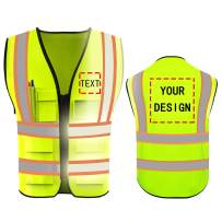 High Visibility Reflective Safety Vest Customize Logo With 5 Pockets Hi Vis Vest Outdoor Protective Workwear (Neon Yellow (2XL))