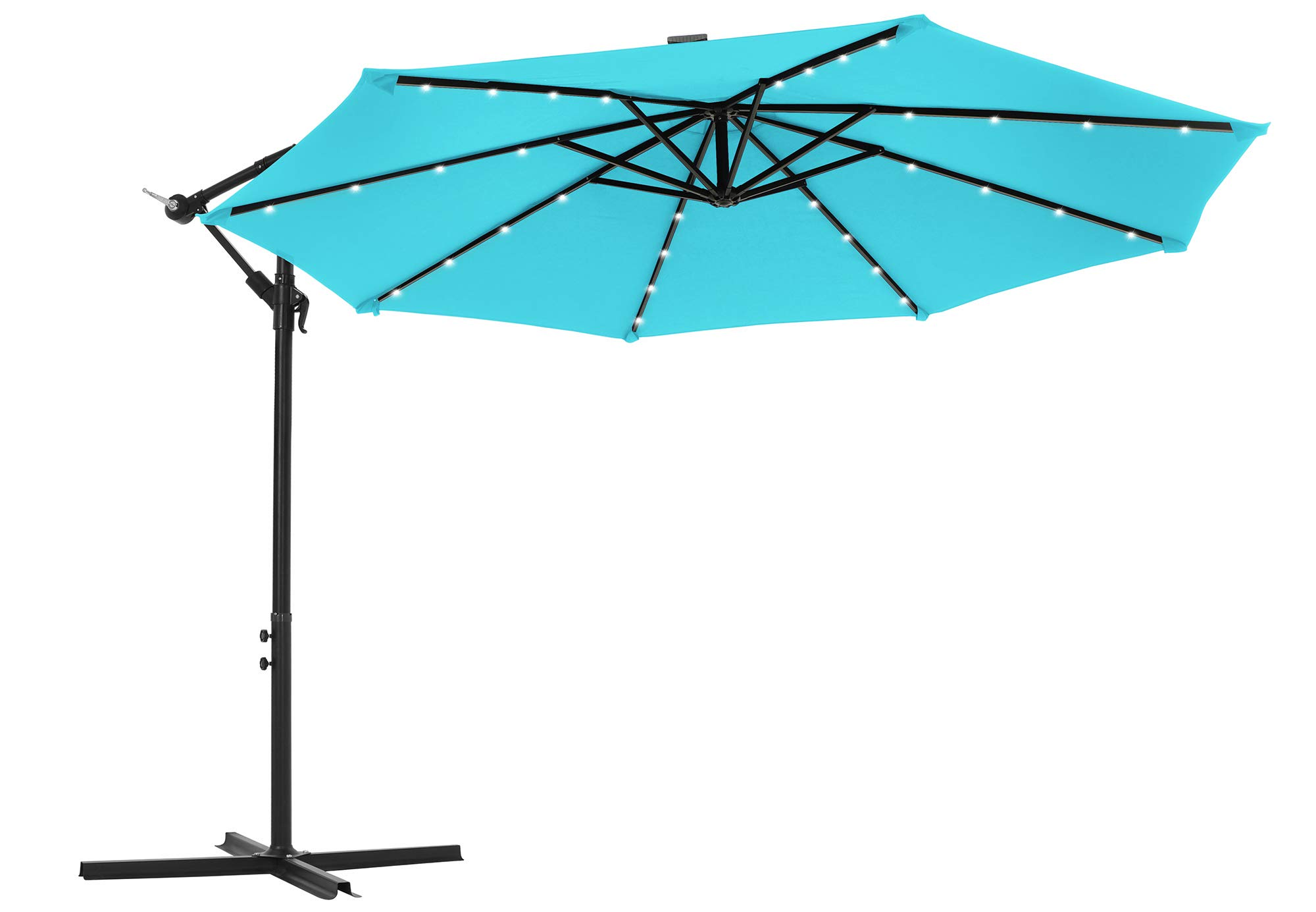 SONGMICS Outdoor Umbrella with Solar-Powered LED Lights, 10 ft Cantilever Umbrella, Standing Offset Patio Umbrella with Base, UPF 50+, Crank for Opening Closing, Lake Blue UGPU018Q01