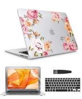 GVIEWIN Case for MacBook Air 13 Inch Case (A1369 & A1466, Older Version 2010-2017 Release), Flower Hard Sell&Keyboard Cover&Screen Protector& Cleaning Brush, Compatible with Air 13, Fower/Pink