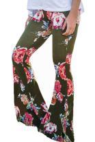 Anatoky Women's Fashion Floral Print Wide Leg Long Palazzo Flared Bell Bottom Yoga Pants Trousers