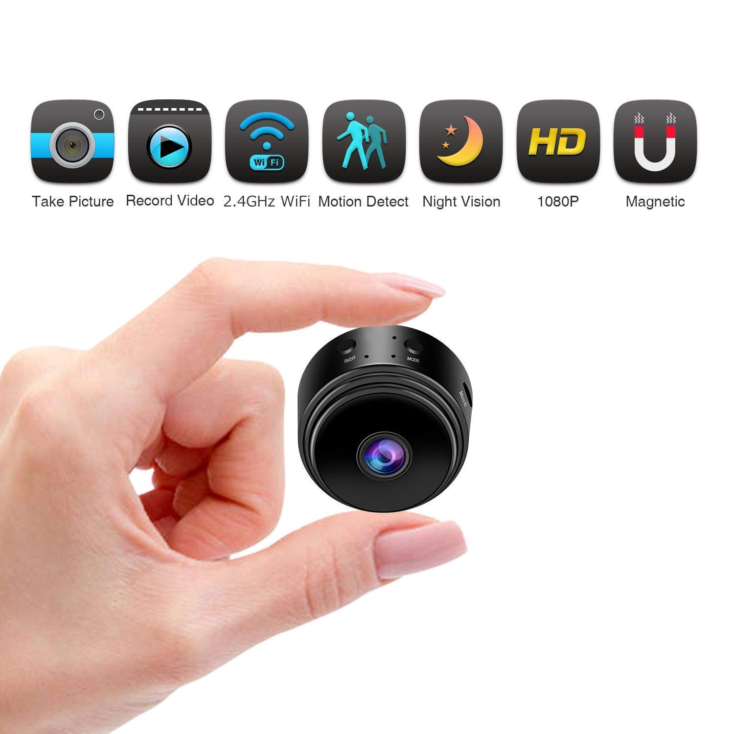 fomei Hidden Camera Spy Camera WiFi Wireless Full HD 1080P Security Camera Night Vision Motion Activated Indoor Outdoor Small Nanny Cam for Cars Home Apartment