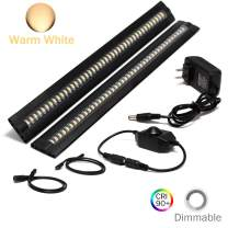 Ultra Thin LED Under Cabinet/Counter Kitchen Lighting Plug-in, Dimmable 2 Coin Thickness LED Light with 42 LEDs, Easy Installation Warm White 12V/1A 5W/450LM CRI90, 2 Pack, All in One Kit