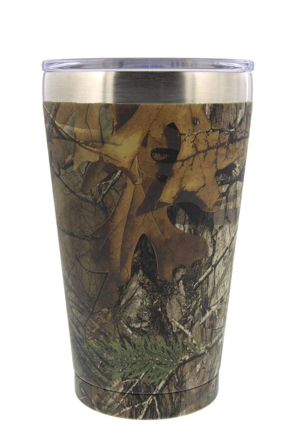 Reduce Cold-1 Insulated Tumbler Cup with Clear Lid - Pint Size, Camo Design, 16 oz, Keeps Drinks Hot / Cold - Stainless Steel, Ideal for Outdoors / Travel - Fill Mug with Coffee, Water, Beer or Soda