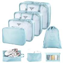 Ceephouge 8 Piece Packing Cubes Set for Travel Suitcases Compression, Lightweight Luggage Packing Organizer Bags Set for Travel Carry on, with Shoe Bag & Toiletry Bag(BLUE)