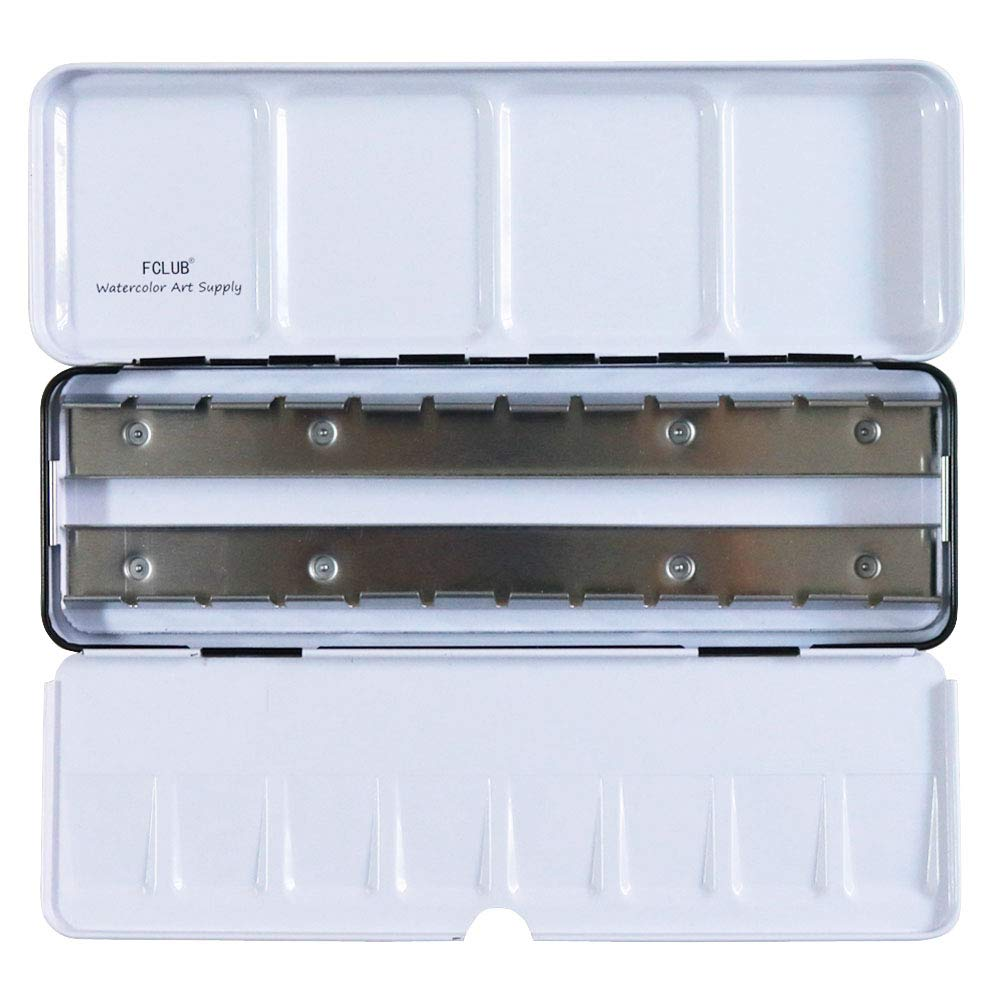 FCLUB Empty Watercolor Tins Palette Paint Case - Empty Tin Box for Holding 24 Half Pans or 14 Full Pans