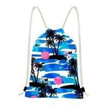 doginthehole Tropical Palm Tree Ocean Wave Pattern Drawstring Bag Backpack Storage Bag for Teen Boys Girls