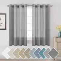 "H.VERSAILTEX Linen Sheer Curtains 63 Pair Set Linen Textured Sheer Curtains Nickel Grommet Window Treatment Panels for Villa/Hall/Parlor, Open Weave - Charcoal Grey - 52"" W x 63"" L"