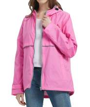 SUNDAY ROSE Women Rain Jacket Lightweight Waterproof Raincoat Hooded Windbreaker