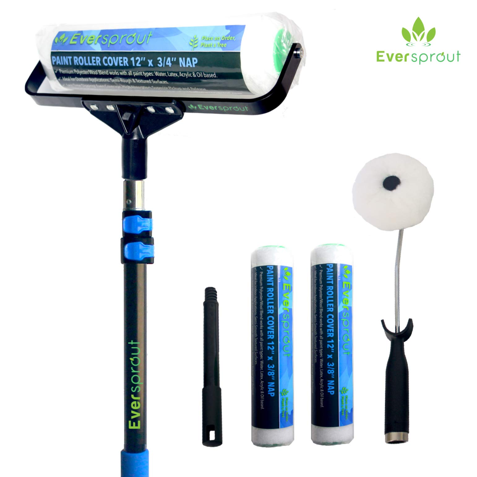 EVERSPROUT 1.5-to-3.5 Foot Paint Roller Kit (8-10 Ft Standing Reach)   Extra Wide 12-inch Roller Frame, Corner Roller Brush, Extension Pole, 2x Poly-Wool Roller Covers Indoor/Outdoor   All Paint Types