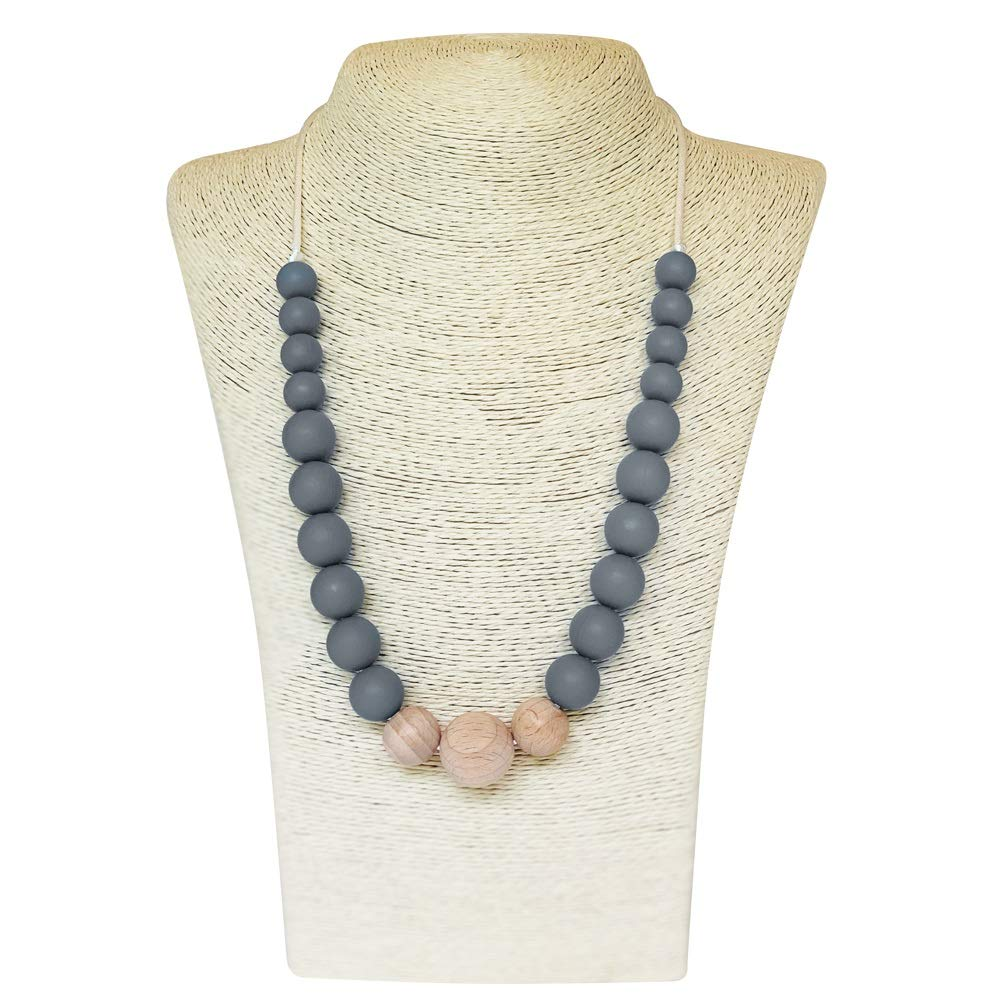 Silicone Teething Necklace for Mom to Wear - Offers Teething Relief and Nursing Distraction for Baby - BPA Free, Made in FDA Registered Facility with Food Grade Silicone. Victoria Collection - Grey