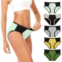 Senllori Women Cotton Underwear Mid-High Waist Briefs Plus Size Ladies Panties Multipack