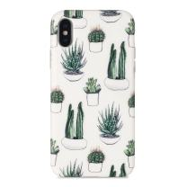 iPhone Xs Max case, Sankton Slim-Fit Anti-Scratch Shock-Proof Anti-Finger IMD Soft TPU Cover with Design Pattern for iPhone Xs Max 2018 6.5-Inch (Cactus)
