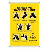 Vertical Effective Hand Washing Label Decal, 5x3.5 inch 4-Pack Vinyl for Handwashing by ComplianceSigns