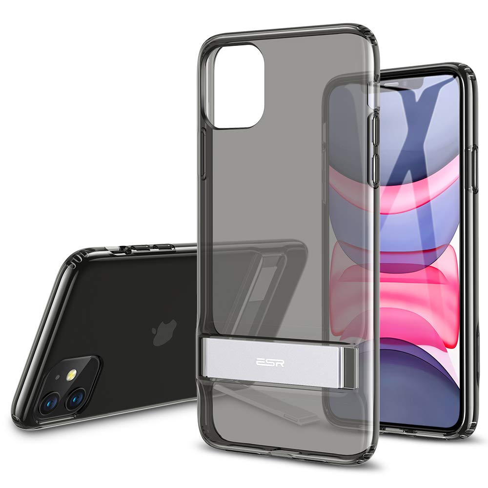 ESR Metal Kickstand Designed for iPhone 11 Case, [Vertical and Horizontal Stand] [Reinforced Drop Protection] Flexible TPU Soft Back for iPhone 11 (2019 Release), Transparent Black