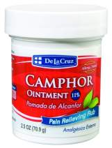 De La Cruz 11% Camphor Ointment, for Muscle and Joint Pain, No Preservatives, Allergy-Tested, Made in USA 2.5 OZ.