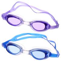 Peicees 2 Pack Kids Swim Goggles with 2 Pairs of Earplugs+2 Boxes, Waterproof Anti-Fog Leakproof Wide View Anti UV Flexible Nose Bridge 3D Tight Fit Swim Glasses for Age 6-14 Children Boys Girls Teens