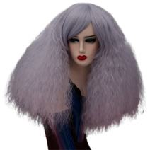 Fluffy Short Curly Wigs Cosplay Wigs Halloween Costume Wigs Synthetic Hair Oblique Bangs for Women with Wig Cap Z079N