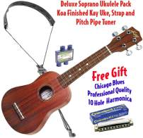 Kay Deluxe Soprano Ukulele, Strap and Tuner-Hawaiian Koa Wood Finish, 4-String Chrome, Right, with BONUS Harmonica, Package (U10P-HARM)