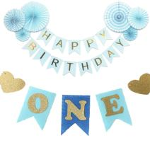 iMagitek Baby Boy 1st Birthday Party Decorations - 6 Pcs Blue Decorative Tissue Paper Fans - One Happy Birthday Banner - One Glitter ONE Highchair Pennant Banner (Tutu is Not Included)