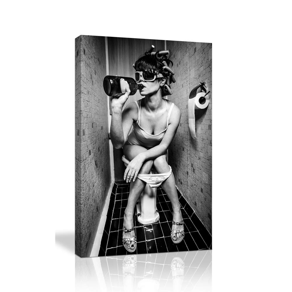 KALAWA Black and White Sexy Woman Cool Decor Poster for Bar Fashion Toilet Beauty Canvas Print Modern Girl Smoking and Drinking in Restroom Painting Picture Ready to Hang (28''W x 44''H)