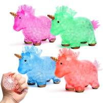 SMALL FISH Fidget Sensory Toys Unicorn Stress Balls for Kids and Adults, Squishy Balls with Water Beads for Anti-Anxiety, Stress Relief, and Relaxation, Best for Boy and Girls with Autism and ADHD