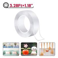 """Multipurpose Double Sided Mounting Tape, Washable Traceless Transparent Adhesive Tape, Household & Industrial Removable Tape Fits for Paste Photos Fix Carpet Mats Pen Keys (3.28Ft x 1.18"""")"""