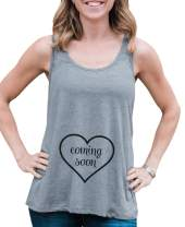 7 ate 9 Apparel Women's Coming Soon Pregnancy Announcement Tank Top